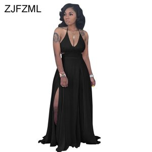 Wholesale Sexy Backless Maxi Beach Dress Women Halter Waist Band Cut Out Side Split Elegant Dress Summer Sleeveless Tie Up Party Dress