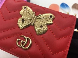 Wholesale Top Quality Luxury Celebrity Design Letter Metal Buckle V shaped Wallet Butterfly Insect Card Back Cowhide Leather Purse Clutch