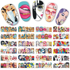 Wholesale 12pcs set Pop Art Designs Decal DIY Water Transfer Nail Art Sticker Cool Girl Lips Decorations Full Wraps Nails JIBN385