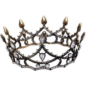 Wholesale European Retro Baroque Round Bridal Crown Black Full Ring Headdress Wedding Accessories Wedding Jewelry