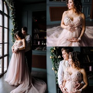 Bohemian 3D-Floral Blush Pink Pregnant Long Wedding Dresses 2019 Spaghetti Beach Boho Bridal Gowns Plus Size Maternity Wedding Bride Dress