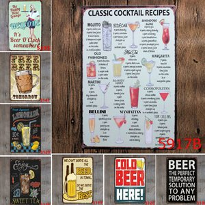 Wholesale Ice Cold Free Beer Here Art Painting Poster Antique Metal Tin Signs Bar Pub Club KTV Home Wall Art Decorative