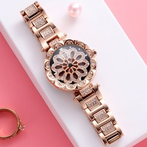 Wholesale Luxury Ladies Quartz Watch Rotating Orange Petals Watch Dial Japanese Movement Sony Battlery Magnetic Watch Buckle