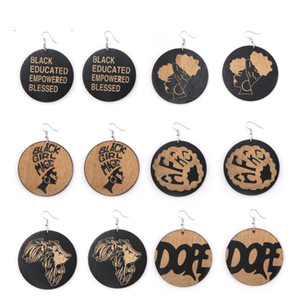 Wholesale 6 Styles African Fashion Jewelry Geometric Round Dangle Printed Wooden Earrings Wood Charm Pendant Ear Hook Earring For Women Lady Gifts