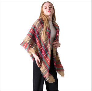 Wholesale Scarf Plaid Knitted Winter Autumn Women Imitation Cashmere Scarves Girls Shawls Styles Pashmina Lady Wrap CM Xmas Gifts