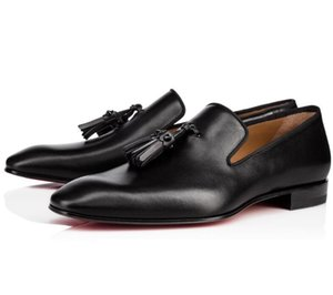 Wholesale Luxurious Brand Red Bottom Dandelion Tassel Gentleman Oxford Slip On Black Leather Loafers Shoes Evening Party Business EU35