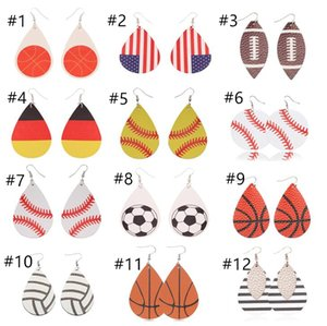 Wholesale Fashion Sports Styles PU Leather Droplet shape Earrings Vintage Baseball Football America National Flag Earring Kids Jewelry T10C001