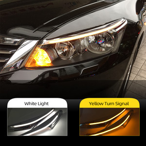 2PCS Car Headlight Eyebrow Decoration Yellow Turn Signal DRL LED Daytime Running Light For Honda Accord 2011 2012 2013 2014