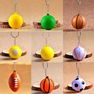 Wholesale Cheap Football Basketball Baseball Table Tennis PU Keychain Toys Fashion Sports Item Key Chains Jewelry Gift For Boys And Girls