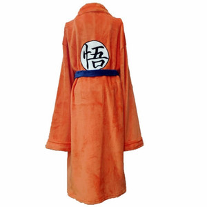 Wholesale Anime Flannel Bathrobe Son Goku Cosplay Costume Autumn Winter Solid Plush Thick Warm Long Bath Robe Dressing Gown