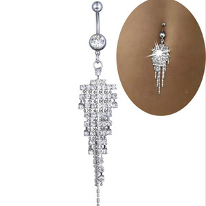 Wholesale 50pcs lot Belly Button Piercing Studs Fashionable Stainless Steel Navel Beauty Accessory Tassel Body Jewellery For Women