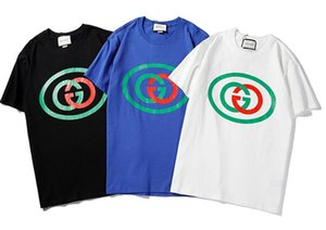 Wholesale 2019 newest brand bb gc men women Red and green logo pattern print T Shirts short Sleeve O neck T Shirt Tops Tees