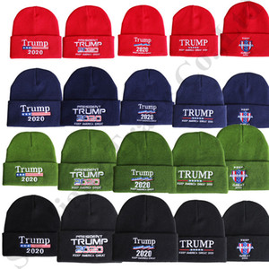 Knitted Hats 2020 President Trump Keep America Great Winter Crochet Hats Unisex Skull Beanies Outdoor Ski Knit Caps C82101