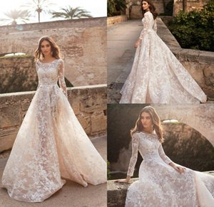 2020 Sexy NAVIBLUE DOLLY Beach Wedding Dresses Scoop Neck Lace Appliqued A Line Long Sleeve Country Wedding Dress Plus Size Vestido De Novia on Sale