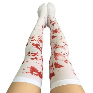 Wholesale Halloween Decoration Sexy Cosplay Striped Over The Knee Stockings Blood Forked Bone Pattern Women s Cosplay Terror Blood Socks