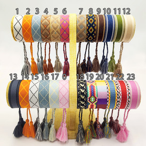 Wholesale wedding bracelets resale online - New Cotton woven Letter Embroidery tassel bangle Lace up Bracelet Adjustable Festival bracelets women jewelry