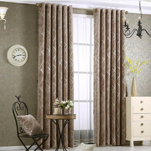 Wholesale curtain living room resale online - Chenille jacquard Silver Blackout Curtain For Bedroom Modern Blind Fabric Grey Drapes for Living Room Window Custom size