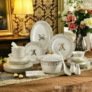 Luxury 61 pcs set Creative Round Fruit Plate Ceramic Dinner Dishes HomeHotel Dishes Dishes Gift Tableware BW603 on Sale