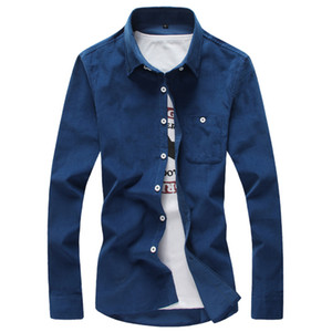 Wholesale Autumn Men's Casual Fashion Corduroy Multi-color Shirt , Comfortable Soft Solid Slim Shirt , Winter Business Underwear Men