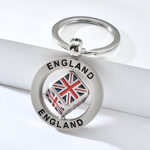 Wholesale England Round Silver Keychain English Style British Flag Square Cube Dice Rotatable Plating Silver Souvenir Key Ring