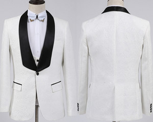 New Fashion White Groom Tuxedos Groomsmen One Button Shawl Collar Best Man Suit Wedding Men's Blazer Suits (Jacket+Pants+Vest+Bow tie) on Sale