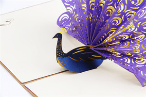 Wholesale Hollow Peacock Handmade Kirigami Origami d Pop Up Greeting Cards Invitation Postcard For Birthday Wedding Party Gift