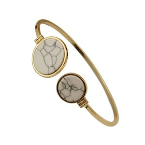 Wholesale Marbled Geometric Bracelet For Women Bijoux White Black Faux Marble Round Geometric Bangle Gold Circle Cuff Bangle Stone Bracelet
