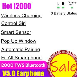 Wholesale i2000 TWS Wireless Bluetooth Headphones Touch Earbuds Earphone Charging Headset Pop Up Window Earbuds Smart Sensor For Phone H1 W1 Chip
