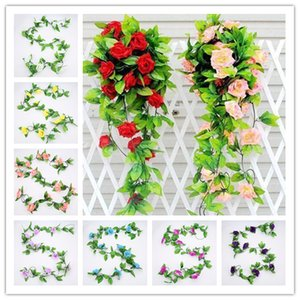 Wholesale 240CM Artificial Roses Flower Vine Wisteria With Green Leaves For Wedding Home Party Decoration DIY Craft Fake Flowers Free Ship