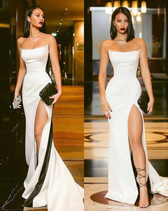 2019 New Design White Elastic Satin Front Split Party Dresses Sweetheart Neck Ruffles Short Cocktail Gowns Sexy Zipper Back LLF2100 on Sale