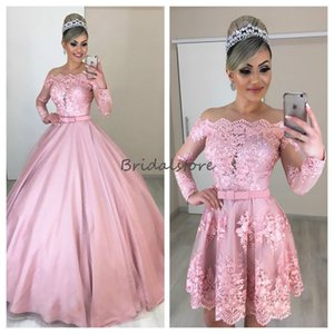 Wholesale Hot Sale Blush Pink puffy prom dresses with detachable skirts illusion lace long sleeves formal evening gowns elegant quinceanera dresses