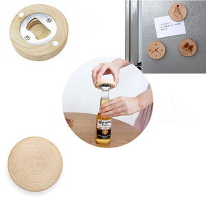 Wholesale Blank DIY Wooden Round Shape Beer Bottle Opener Coaster Fridge Magnet Decoration Beer Bottle Opener Free Epacket