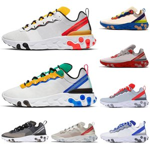 Wholesale New React Element Tour Yellow Running Shoes men women Orange Peel triple black white Cream Blue mens trainers sports sneakers