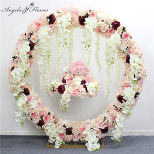 Wholesale 2m artificial orchid flower row runner decor party wedding backdrop iron arch stand road lead wisteria rose peony orchid mix row