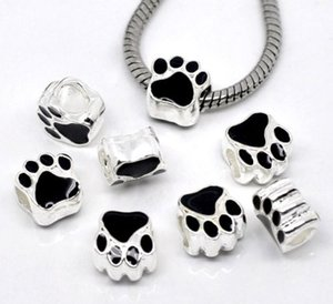 12MM Silver Plated Black Enamel Bear's Paw Charm Bear Paw Footprint Beads Bear Paw Big Hole Beads Charms Fit European Bracelet