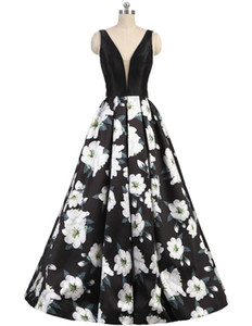 Wholesale 2019 Sexy Printed Flower Prom Dresses Evening Gowns V Neck Sleeveless Backless A Line Ball Gown Long Formal Party Dress