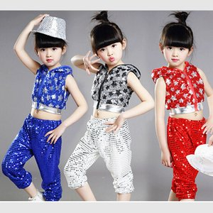 Wholesale silver red yellow children girl boy performance flashing paillette sequins star Hip hop Jazz modern dance costume suit pants
