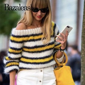 Bazaleas France Yellow White Stripe Patchwork women Sweater Off Shoulder Kintted harajuku Vintage Drop shipping on Sale