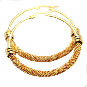 Wholesale New Fashion L Stainless Steel Big Hoop Earrings Half Net Prevent Allergy Gold Silver Women Earring Aros Mujer Oreja