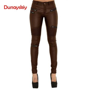 Wholesale 2019 New Women Coated Jeans Brown Spliced Multi Fake Zipper Low Waist Pencil Pants Skinny Stretched Jeans Sexy Faux PU Leather