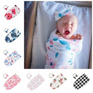 Wholesale Baby Sleeping Bags Newborn Infant Swaddle Blanket Kids Baby Sleeping Swaddle printed Wrap floral Headband Toddler Sleep Sacks Cocoon LT885