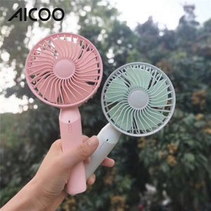 Wholesale AICOO Handheld Aromatherapy Small Fan with Stand Base Portable USB Rechargeable Desktop Mini Fan Retail Package