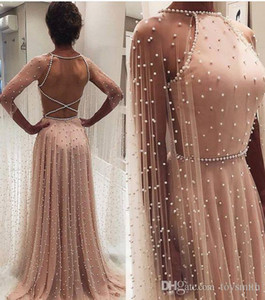 Free Shipping 2019 New Evening Dress Halter Floor Length A-Line Long Sleeve Custom Made Pearl Chiffon Party Prom Gown Dress on Sale
