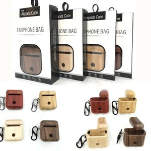 Wholesale For Newest AirPods Earphone wood case Protective Cover Skin Accessories for Apple Airpods Charging Box with reatial packiing