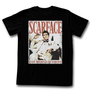 Wholesale SCARFACE MORE DA WORLD THE WORLD IS YOURS BLACK T Shirt for Man Hipster O Neck Causal Cool Tops