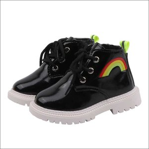 Rainbow Boots Children New 2019 Autumn and Winter Girl Leather Boots Boy Martin Boot Toddler Kids Ankle Botas Black Beige #16