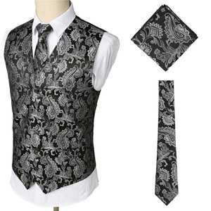 Wholesale Men s Black Paisley Jacquard Waistcoat Vest Handkerchief Party Wedding Tie Vest Suit Pocket Square Set Chalecos Para Hombre XXXL