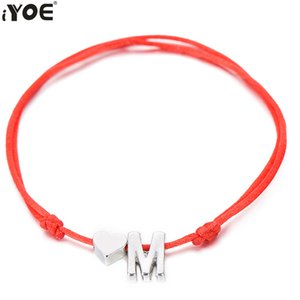 Cheap Charm Bracelets IYOE Gold Silver Color Tiny Heart Initials Name Letter Bracelet For Women Men Kids Hand Braided Red Rope Bracelets