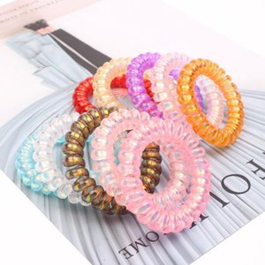 High Quality Crystal Love Telephone Wire Cord Hair Tie Girls Elastic Hair Band Ring Rope Candy Color Bracelet Stretchy Scrunchy