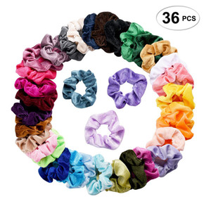 Wholesale 36 Set Vintage Hair Scrunchies Stretchy Velvet Scrunchie Pack Women Elastic Hair Bands Girl Headwear Solid Rubber Ties